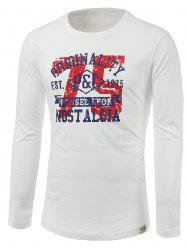 Number and Letters Print Round Neck Long Sleeve T-Shirt -