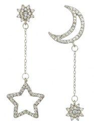 Pair of Rhinestone Star Asymmetric Earrings - SILVER