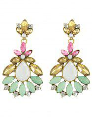 Pair of Rhinestone Leaf Flower Earrings