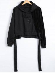 Autumn Circle Hoop Lace-Up Velvet Patched Reversible Crop Hoodie