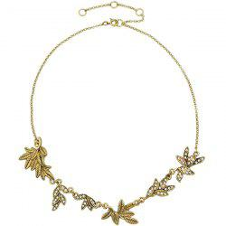 Rhinestone Carved Foliage Necklace