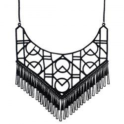 Geometric Openwork Tassel Necklace