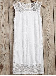 Comfort Small Pompon Openwork Lace Dress -