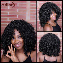 Adiors Long Oblique Bang Kinky Curly Synthetic Wig - BLACK