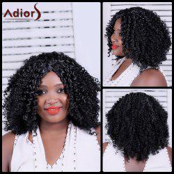 Adiors Long Shaggy Curly Centre Parting Synthetic Wig - BLACK