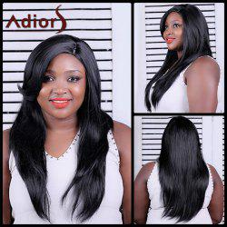 Adiors Long Natural Straight Side Bang Synthetic Wig - BLACK