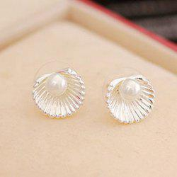 Fake Pearl Shell Stud Earrings - SILVER
