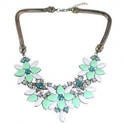 Rhinestone Water Drop Flower Necklace -