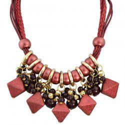 Faux Leather Braid Geometric Beads Necklace