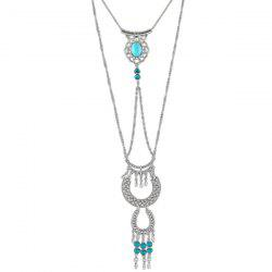 Layered Faux Turquoise Geometric Necklace - SILVER