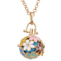 Rhinestone Floral Pregnant Bead Locket Necklace -