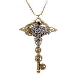 Vintage Gear Heart Key Necklace