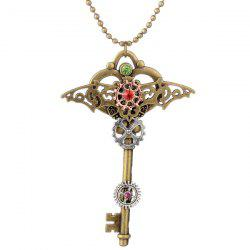 Rhinestone Bat Circle Gear Key Necklace -