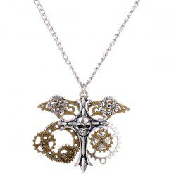 Circle Gear Skull Crucifix Halloween Necklace