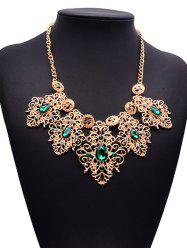 Faux Emerald Gem Rhinestone Engraved Floral Necklace -