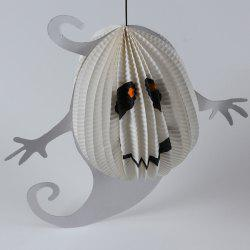 Halloween Supply Ghost Pattern Paper Hanging Lantern Decoration Party - WHITE