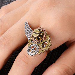 Circle Gear Wing Ring - BRONZE-COLORED