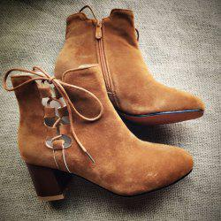 Lace-Up Hollow Out Chunky Heel Boots