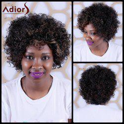 Adiors Short Highlight Oblique Bang Curly Synthetic Wig -
