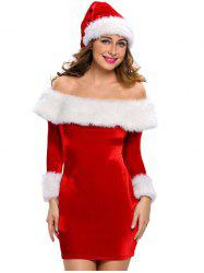 Christmas Faux Fur Fitted Velvet Short Party Dress With Hat -