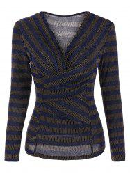 Stripe Sequined Faux Wrap Long Sleeve Blouse -