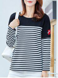 Embroidered Striped T-Shirt -