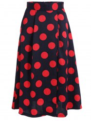 High Waist Polka Dot A Line Skirt -