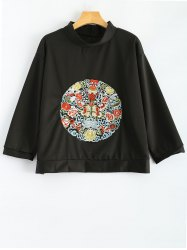 Stand Neck Long Sleeve Retro Embroidered Sweatshirt -