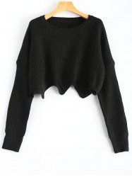 Round Neck Scalloped Pullover Sweater -