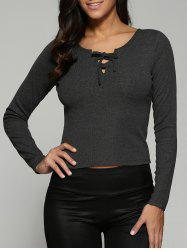 Lace-Up Knit Fitted Crop T-Shirt - DEEP GRAY XL