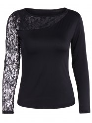 Autumn One Openwork Lace Sleeve T-Shirt -