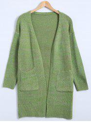 Drop Shoulder Long Cardigan with Pockets - GREEN ONE SIZE