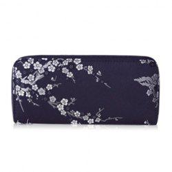 Plum Blossom Embroidery Zip Around Wallet - BLACK