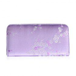 Plum Blossom Embroidery Zip Around Wallet - LIGHT PURPLE