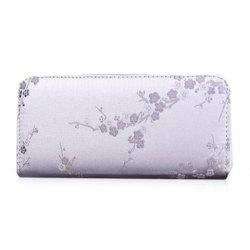 Plum Blossom Embroidery Zip Around Wallet - LIGHT GRAY