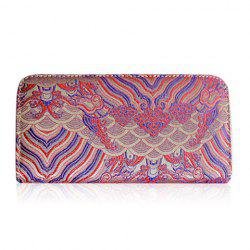 Vintage Embroidery Zip Around Wallet - DEEP PINK