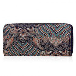 Vintage Embroidery Zip Around Wallet