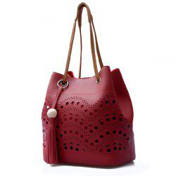 Color Spliced Hollow Out Tassels Tote Bag