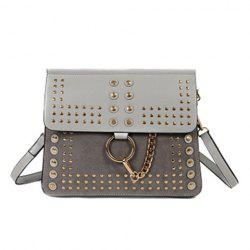 Covered Closure Dome Stud Metal Ring Crossbody Bag