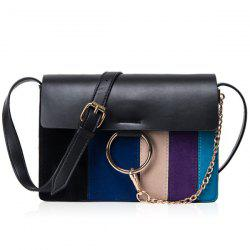 Metal Ring Striped Pattern Chain Crossbody Bag -