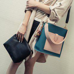 Color Spliced Textured Leather Magnetic Closure Shoulder Bag - PEACOCK BLUE