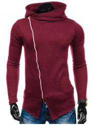 Side Zipper Up Asymmetric Hoodie - RED