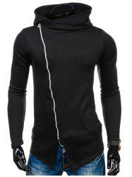 Side Zipper Up Asymmetric Hoodie - BLACK
