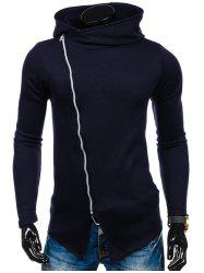 Side Zipper Up Asymmetric Hoodie - CADETBLUE