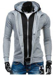 Color Block Spliced Zip-Up Hoodie