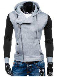 Side Zipper-Up Color Block Hoodie - LIGHT GRAY