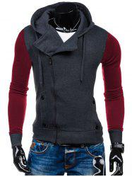 Side Zipper-Up Color Block Hoodie - DEEP GRAY