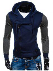 Side Zipper-Up Color Block Hoodie - Bleu Cadette