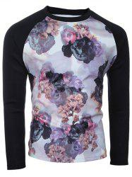 Crew Neck Spliced Sleeve Floral Print T-Shirt