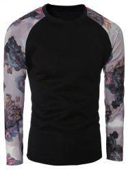 Floral Print Spliced Sleeve Crew Neck T-Shirt - BLACK